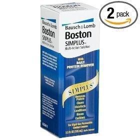 Boston Simplus Multi-Action Solution pour lentilles de contact rigides perméables aux gaz (Pack de 2) Deux bouteilles de 3,5 onces + 1 oz Une bouteille de Voyage TOTAL 8 fl oz plus bonus un contact Lens Case