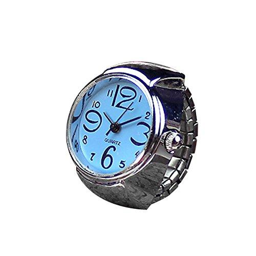 Price comparison product image yijiamaoyiyouxia Clearance Dial Quartz Analog Watch Creative Steel Cool Elastic Quartz Finger Ring Watch (Blue)