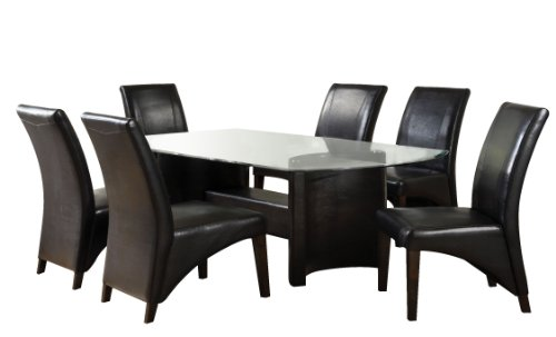 Furniture of America Themis 7-Piece Dining Table Set with 10mm Beveled Glass Top, Espresso Finish