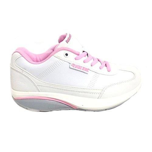Zapatos Mujer dimagranti rassoda Glúteos Benessere deportivas Fitness basculantes rassodanti Bianco/Rosa