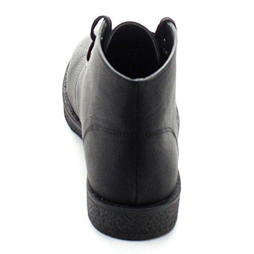 Natur Bris Kvinner Leather Rund Tå Snøre På Chukka Flat Oxford Svart-01