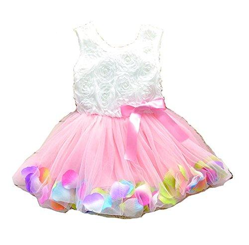 Kids Girls Princess Rose Garden Flower Petal Lace Ruffled Tulle Skirts Dresses (6#, pink.) ()