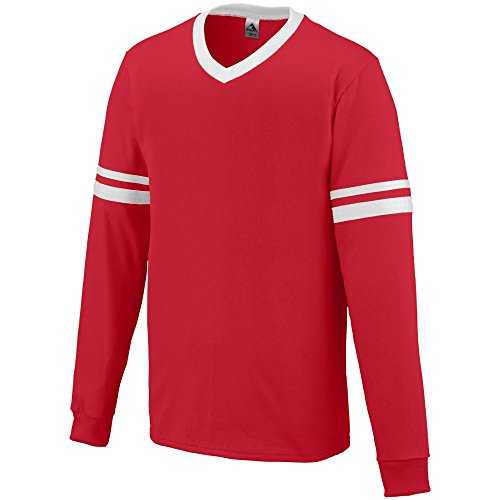 Augusta Sportswear MEN'S LONG SLEEVE STRIPE JERSEY M Red/...