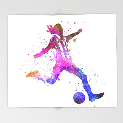 Society6 Girl playing soccer football player silhouette Throw Blankets 88'' x 104'' Blanket by Society6