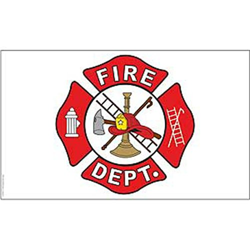 Fire Department White / Red Logo Super Poly Full Sized Flag