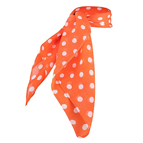 Sheer Chiffon Scarf Vintage Style Accessory for Women and Children (Orange Polka Dot)