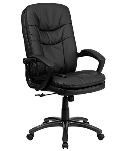 Offex BT-9585P-GG Mid-Back Massaging Executive Office Chair, Black Leather