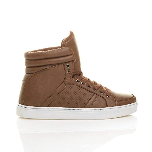Ajvani Mens lace up casual flat hi high top ankle boots shoes trainers sneakers size Tan Brown J92DyDSt2h