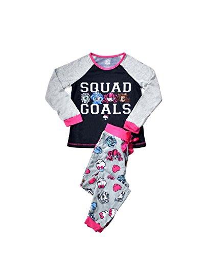 KOMAR KIDS Monster High Squad Goals Girl's 2-Piece Long Sleeve Raglan & Pants Pajama Set