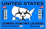 Zombie Hunting License Permit Blue United States - Biohazard Response Team Automotive Car Window Locker Bumper Sticker