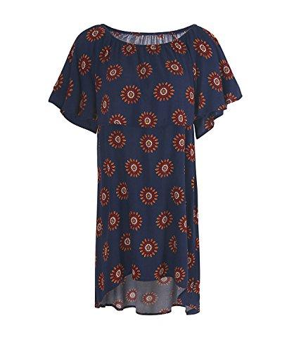 Le Bustier D'été Des Femmes De L'épaule Imprimé Floral Manches Courtes Noir Mini-robe Plissée