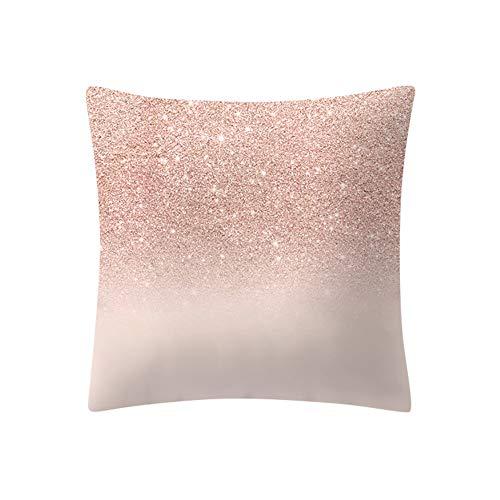 Mome ʕ •ᴥ•ʔ Beautiful Square Pillowcas ʕ •ᴥ•ʔ 1 PC Rose Gold Pink Cushion Cover Square Pillowcase-Home Decoratio-Car Ornament -Bedroom Decoration (D) by MOME~Christmas Decorations For Home (Image #1)