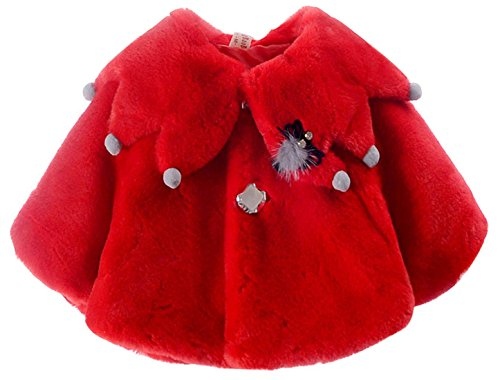 Happy cherry Baby Girls Warm Coat Cloak Jacket Winter clothess Overcoat Cute Outdoor Cape for 12-18M Red Closure Overcoat