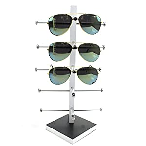 Display Rack, Petforu Wooden Sunglasses Holder Eyeglass Collections Display Stand (Black + White)
