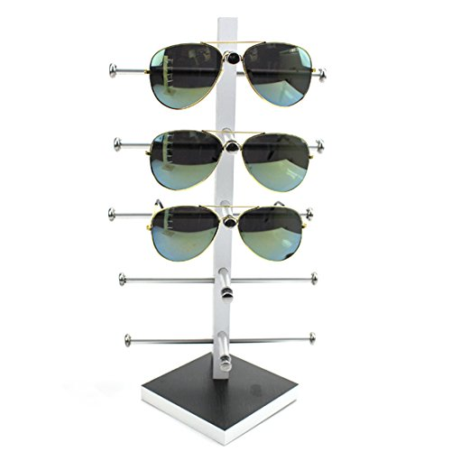 Display Rack, Petforu Wooden Sunglasses Holder Eyeglass Collections Display Stand (Black + - Wooden Case Sunglasses