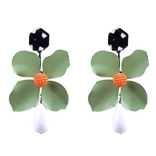 - Flower Earring Fashion Gift Women Resin Dangle Jewelry Chic Pearl Drop Stud Earring (Green)