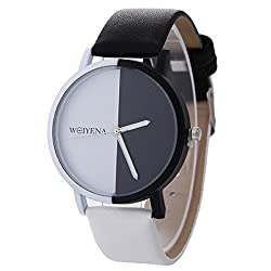 Neutral Simple Watches,SINMA Black and White Pattern Wristwatch Leather Quartz Wrist Watch for WEIYENA (C)