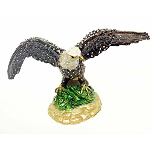 [NEW] Jewelry Trinket Box Figurine Case Vintage Collectible for Keepsake Art Decor Holder Organizer Pill Box - Magnet Storage, Jeweled w/ Swarovski Crystals ( Birds / Butterfly ) (Eagle - Flying 2)