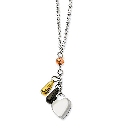 ICE CARATS Stainless Steel Heart Multicolor Plated Accents Chain Necklace Pendant Charm S/Love Fashion Jewelry Gifts for Women for Her
