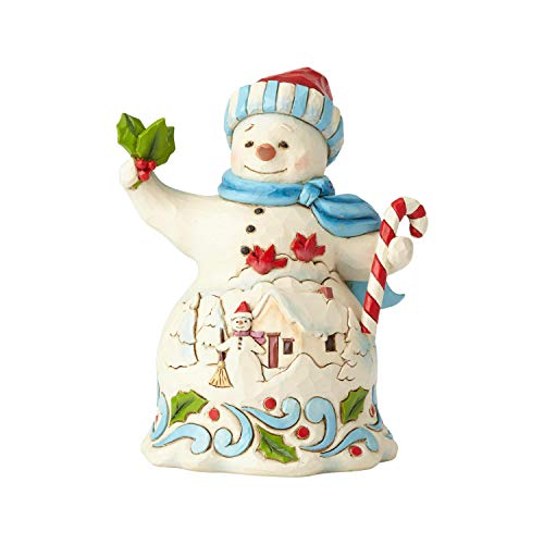 Enesco Jim Shore Heartwood Creek Pint Size Snowman with Candy Figurine 5.25
