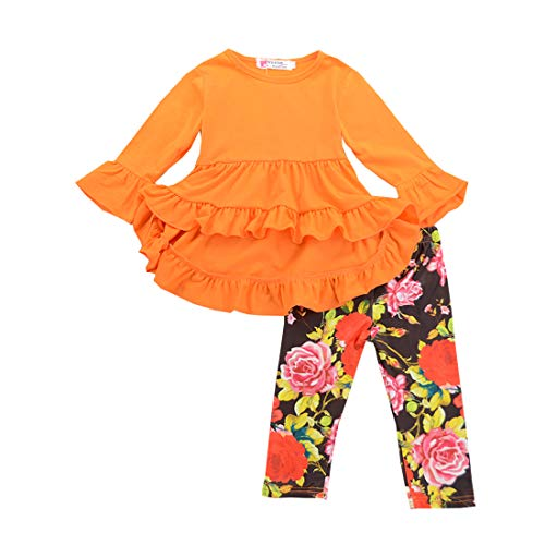 3PC Toddler Baby Girls Cute Floral Shirt Dress Pants Christmas Thanksgiving Headband Outfit Clothing Sets (Orange, ()