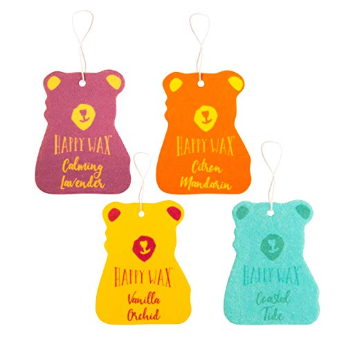 Happy Wax Scented Hanging Car Cub Air Freshener - Cute Car Freshener Infused with Natural Essential Oils! - Assorted 4-Pack (Calming Lavender, Citron Mandarin, Vanilla Orchid, Coastal Tide)
