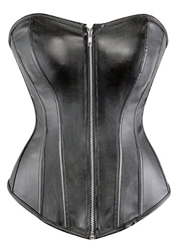 Leather Strapless Bustier - lttcbro Women's Faux Leather Corset Bustier Top Strapless Plus Size Small Zipper Black