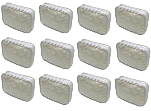 Dozen Pack- 12 White Butterfly Cosmetic Bags with