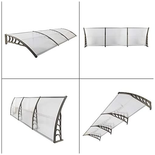 Garden and Outdoor Simply-Me 40″ x 120″ Door Window Awning Polycarbonate Cover Front Door Outdoor Patio Awning Canopy UV Rain Snow Protection Hollow Sheet (Transparent & Gray) patio awnings