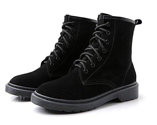 piatte black scarpe breve Testa tonda con stivali XYqnP8v