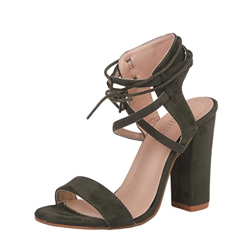 HUHU833 Women Ladies Block Platforms Bandage Shoes Buckle High Heels Sandals Amy Green aYN3BWcC