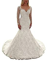 Fenghuavip Mermaid Applique Long Sleeve Wedding Bridal Gowns Beaded with Train