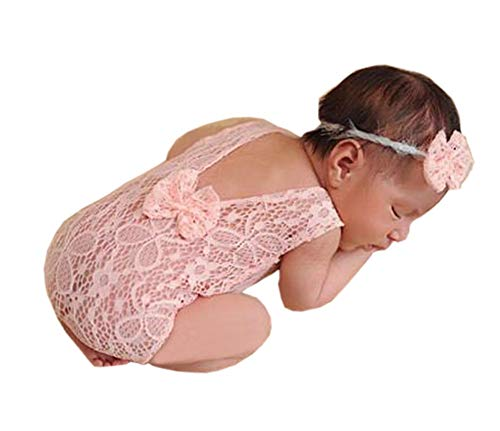 Newborn Baby Girl Photography Props Photo Shoot Outfits Infant Costume Lace Headdress Rompers (Pink)