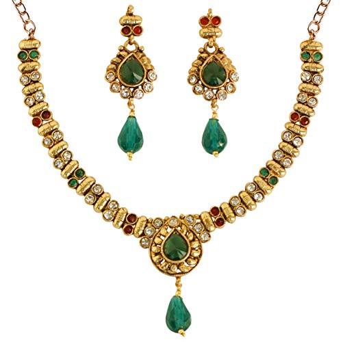"Touchstone Indian Bollywood White red Green Color Jewelry Necklace with 2"" lx0.75"