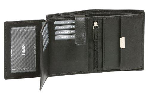 Portafoglio per Uomo e Donna formato verticale LEAS, Vera Pelle, nero - ''LEAS Manzo-Serie''