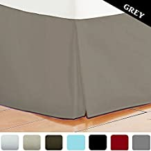 Bed Skirt Long Staple Fiber - Durable, Comfortable & Abrasion Resistant, Quadruple Pleated, 100% Finest Quality by Lux Decor Collection (Queen ,Grey )