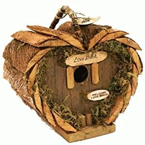 """Rustic Wood Heart-Shaped Birdhouse With """"Love Shack"""" Plaque Sign 7.75"""""""