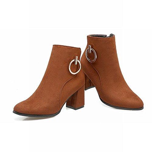 Chunky Sweet Short Shoes Mid Zip Heel Mee Women's Brown Boots xqEw404Y
