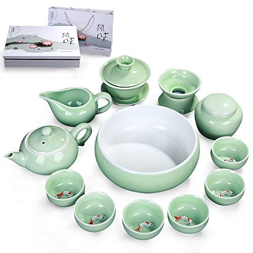 Home&garden accessories 13 in 1 Celadon Ceramic Tea Bowl Set Kung Fu Pot Infuser Teapot 3D Fish Serving Cup Teacup Chinese Drinkware with Gift Box by JIANGHONGYAN