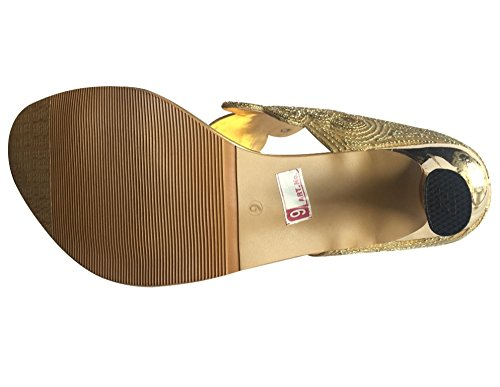 golden Style n Embroided Toe Women Ring Slip Gold On Hand Step vTwxfqO5