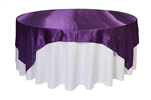 Your Chair Covers - 90 inch Square Satin Table Overlay Purple, Square Satin Table -