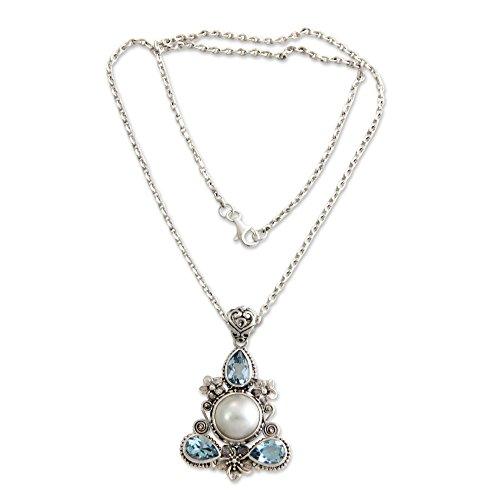 NOVICA Blue Topaz Cultured Mabe Pearl .925 Sterling Silver Necklace 'Frangipani Trio'