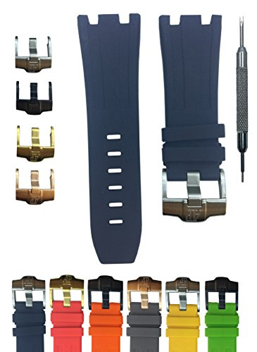 28mm Watch Band Strap Royal Oak Offshore 15703ST.OO.A002CA.01 - Free Spring Bar Tool (Gold Buckle, Black)