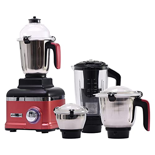 Wonderchef Sumo Mixer Grinder 1000W With 4 Stainless Steel Jars And Anti-Rust Stainless Steel Blades, Ergonomic Handles, 5 Years Warranty On Motor, Red And Black