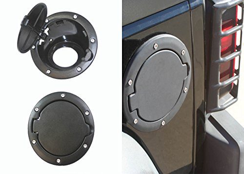 ABN Black Stainless Steel & ABS Plastic Replacement Gas Cap Cover for 2007-2015 07-15 Jeep Wrangler JK & JK Unlimited (Stainless Cover Gas)