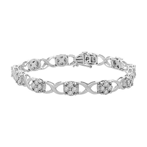 Sterling Silver Round Cut Diamond Love Locks Bracelet (1.00 cttw, I-J Color, I2-I3 Clarity) by Original Classics