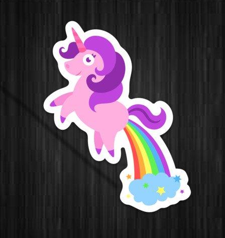 2 Pack Unicorn Poop Farts Rainbows Funny Sticker Decal Large 5.5 x 4.15 Stickeroonie 4328731509