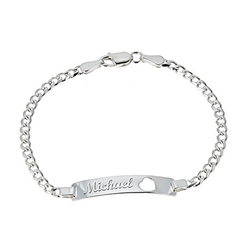 Open Curb Chain - Children's Sterling Silver Curb Chain Open Heart Baby ID Engravable Bracelet 6 Inches (Engrave)