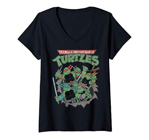 Womens Nickelodeon Teenage Mutant Ninja Turtles Distressed Poster  V-Neck T-Shirt -