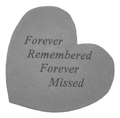 Forever Remembered Forever Missed Memorial Stone - Heart Shaped Kay Berry Ireland KAY1111